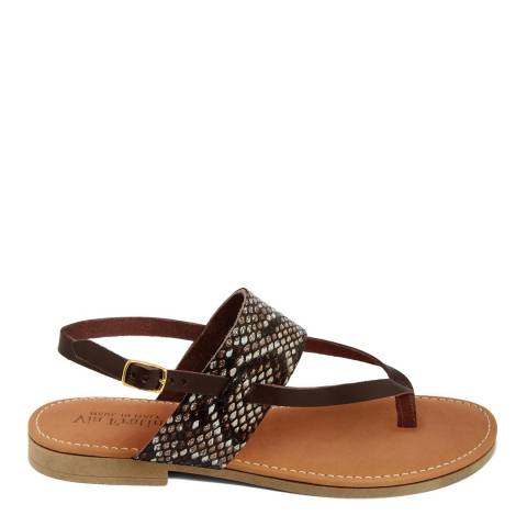 Via Fratina Snake Leather Toe Thong Sandal