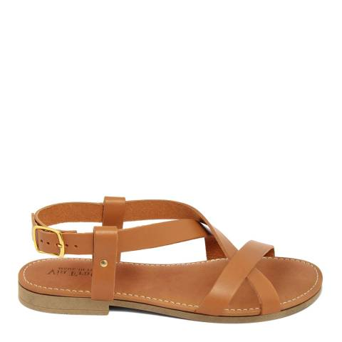 Via Fratina Tan Leather Crossover Sandal