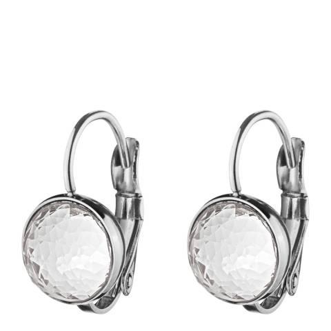 Dyrberg Kern Silver Huggie Earrings with Swarovski Crystals
