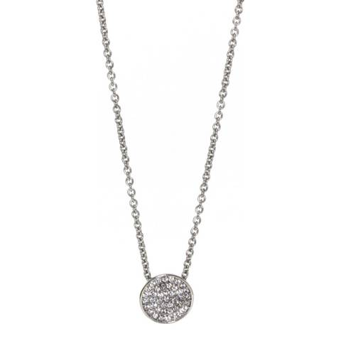 Dyrberg Kern Silver Circle Pendant Necklace with Swarovski Crystals
