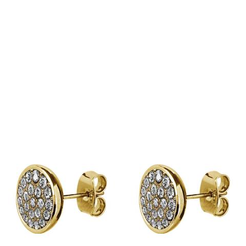 Dyrberg Kern Gold Stud Earrings with Swarovski Crystals