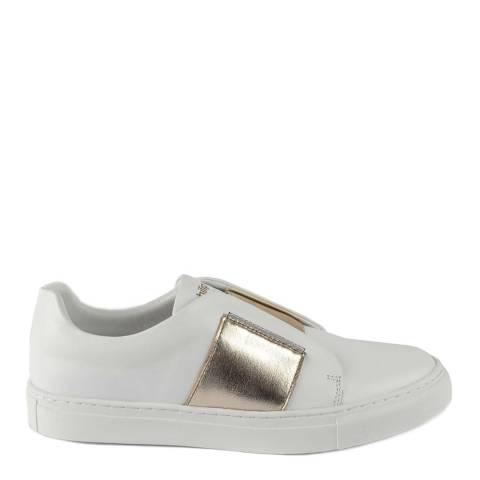 Philip Hog White/Gold Elastic Slip On Sneakers