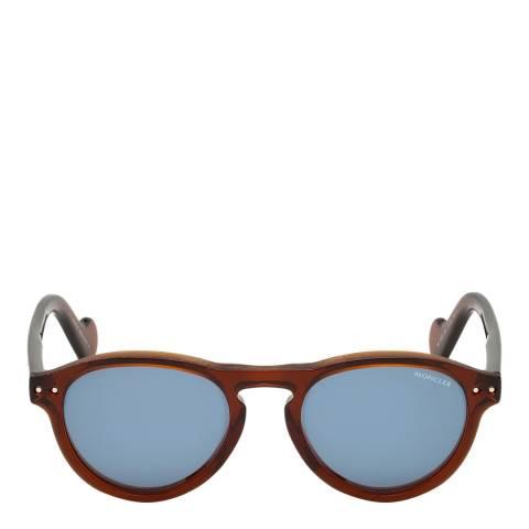 Moncler Unisex Shiny Dark Brown/Blue Moncler Sungasses 51mm