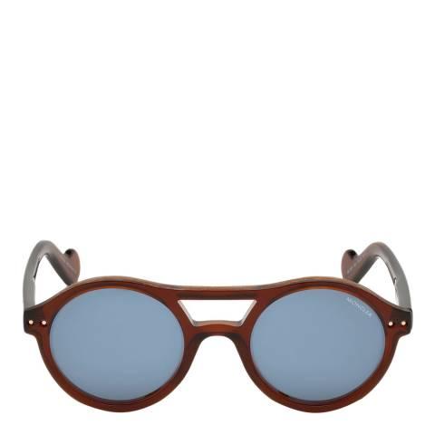 Moncler Unisex Shiny Light Brown/Blue Moncler Sungasses 51mm