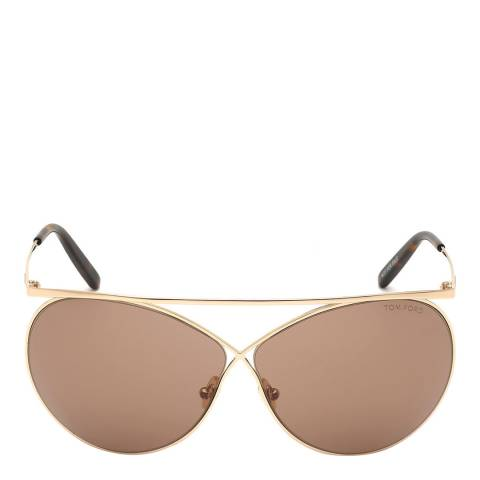 Tom Ford Women's Shiny Rose Gold/Brown Tom Ford Sunglasses 67mm