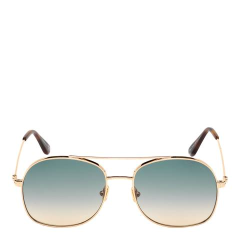 Tom Ford Women's Shiny Rose Gold/Green Tom Ford Sunglasses 60mm
