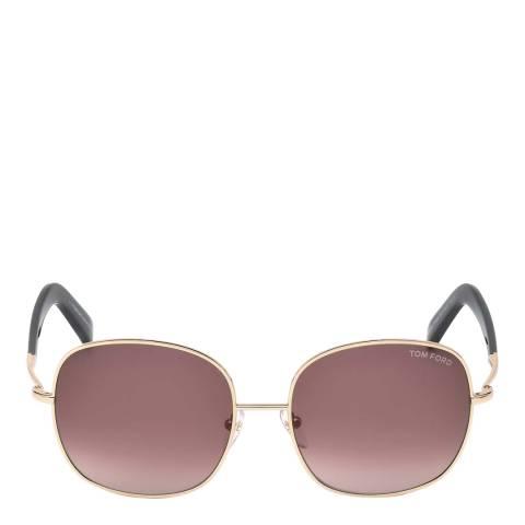 Tom Ford Women's Shiny Rose Gold/Bordeaux Tom Ford Sunglasses 57mm