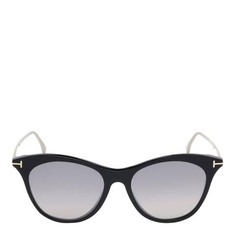 Tom Ford Women's Shiny Black/Smoke Mirror Tom Ford Sunglasses 53mm