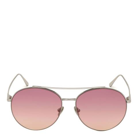 Tom Ford Women's Shiny Palladium Silver/Brown Tom Ford Sunglasses 61mm