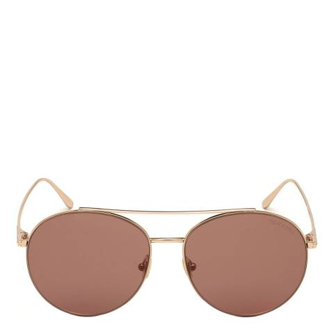 Tom Ford Women's Shiny Rose Gold/Brown Tom Ford Sunglasses 61mm
