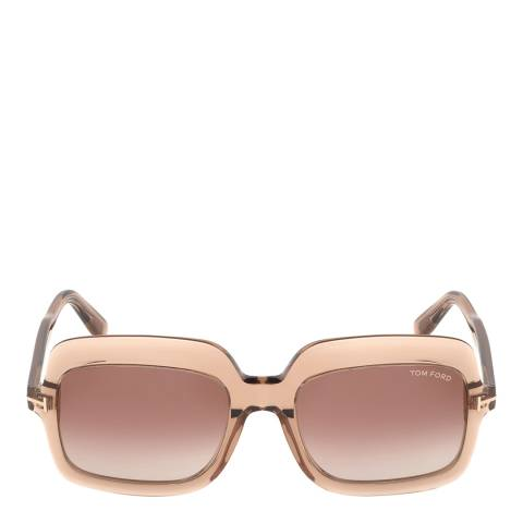 Tom Ford Women's Shiny Translucent/Brown Mirror Tom Ford Sunglasses 56mm