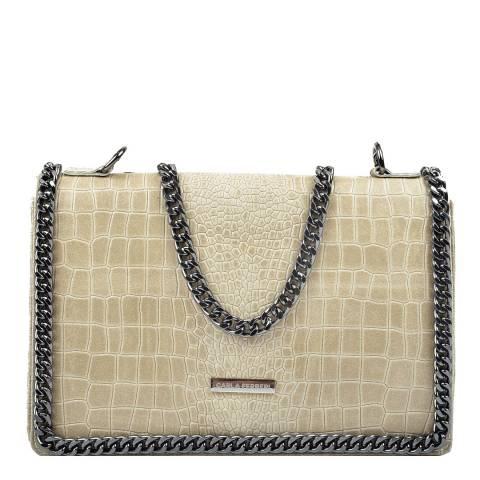 Carla Ferreri Beige Leather Shoulder/Crossbody Bag
