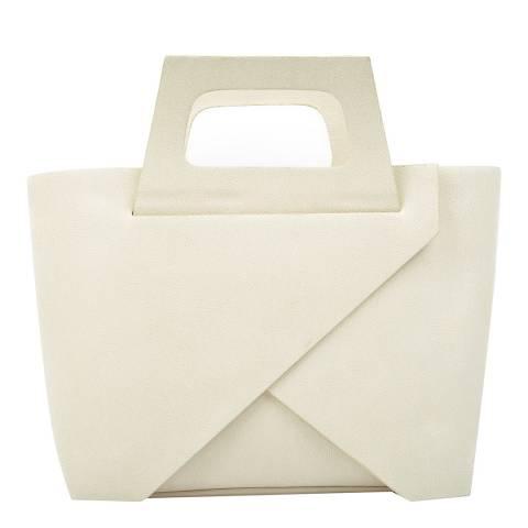 Carla Ferreri Beige Leather Top Handle Bag