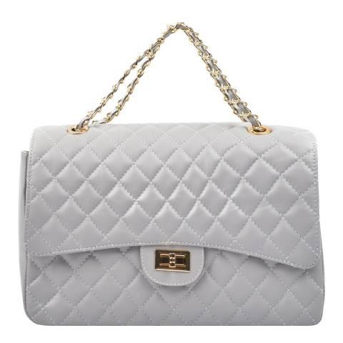 Carla Ferreri Grey Leather Shoulder/Crossbody Bag