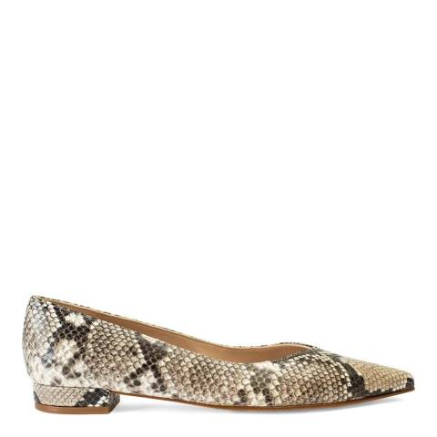 Paco Gil Taupe Snake Print Martina Leather Ballerina