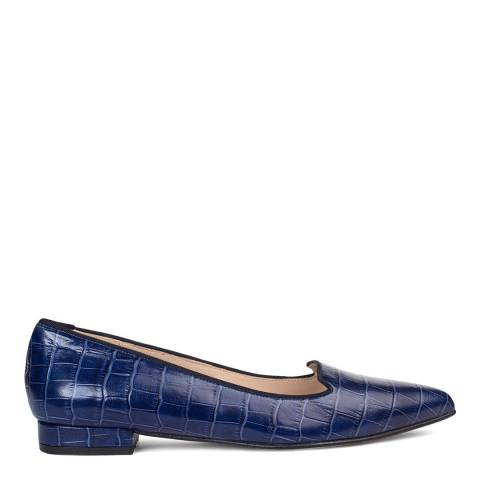 Paco Gil Navy Leather Croc Print Claudia Flats