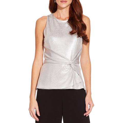 Adrianna Papell Silver Foil Knot Top