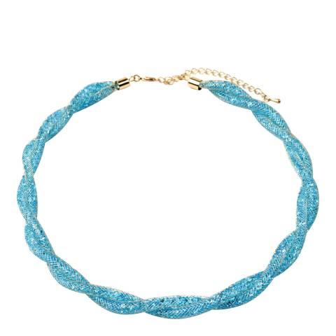 Amrita Singh Aqua Crystal Mesh Gold Tone Necklace