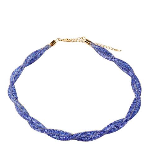 Amrita Singh Blue Crystal Mesh Gold Tone Necklace