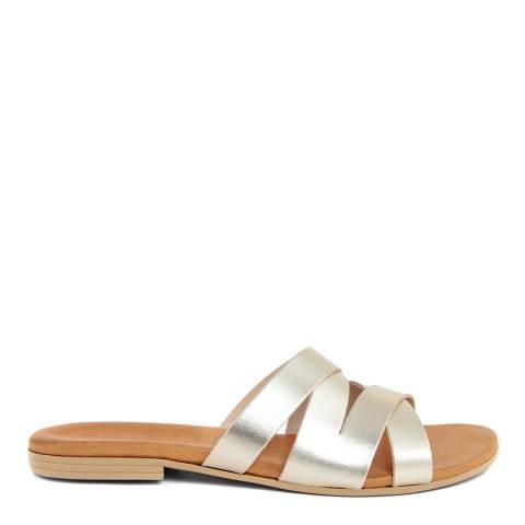 Christianelle Rose Gold Leather Crossover Sandal