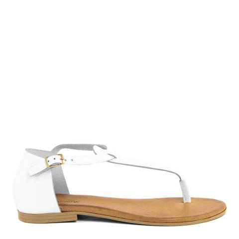 Christianelle White Leather Vintage Effect Sandal