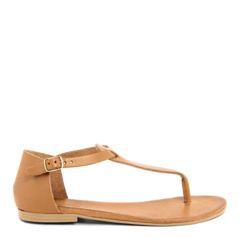 Christianelle Light Brown Leather flip Flop Sandals