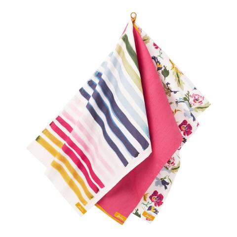 Joules Set of 3 Floral and Stripes Tea Towel Set