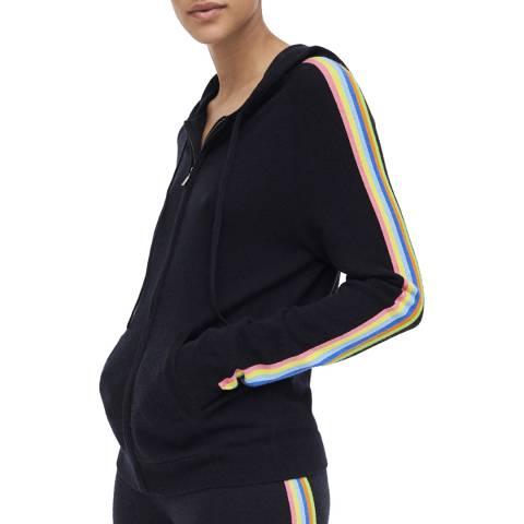 Chinti and Parker Navy Stripe Wool/Cotton Blend Hoodie