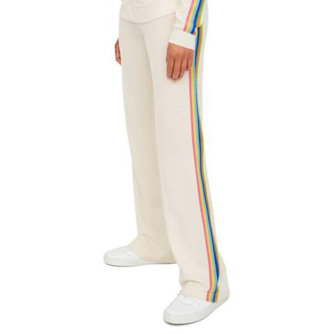 Chinti and Parker Cream Stripe Wide Leg Wool/Cotton Blend Trouser
