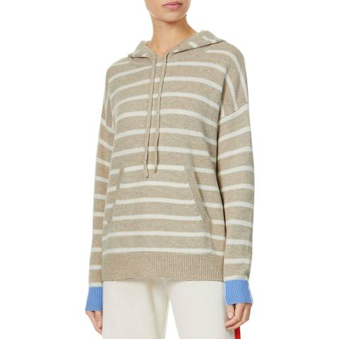Chinti and Parker Beige Striped Cashmere Hooded Jumper