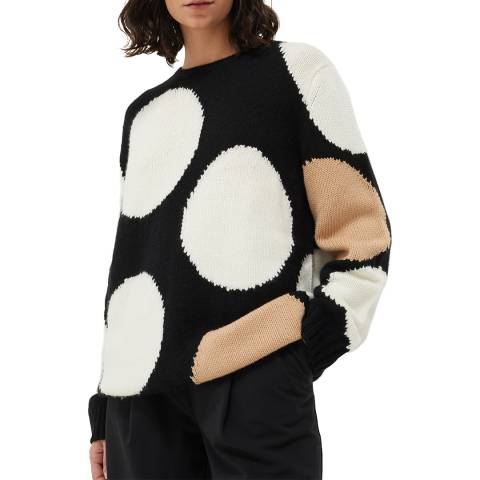 Chinti and Parker Black Multi Dot Wool Cashmere Blend Jumper