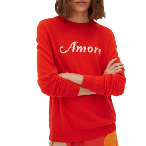 Chinti and Parker Red Amore Wool Cashmere Blend Jumper