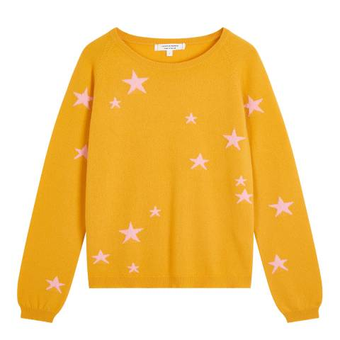 Chinti and Parker Yellow Classic Cashmere Star Jumper