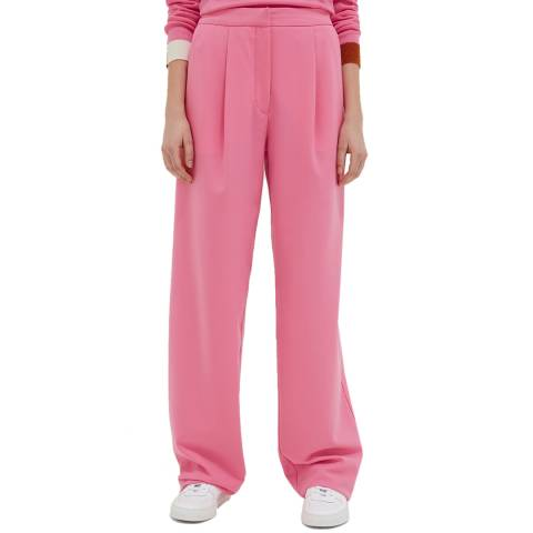 Chinti and Parker Pink Wool Blend Wide Leg Trouser