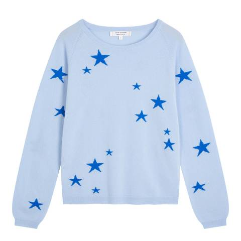 Chinti and Parker Pale Blue Classic Star Light Cashmere Jumper