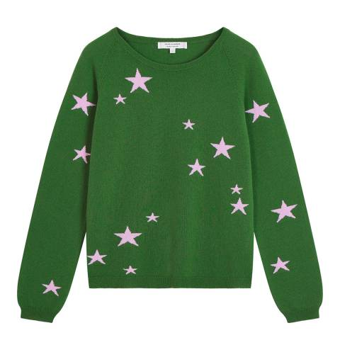 Chinti and Parker Green Classic Star Cashmere Jumper