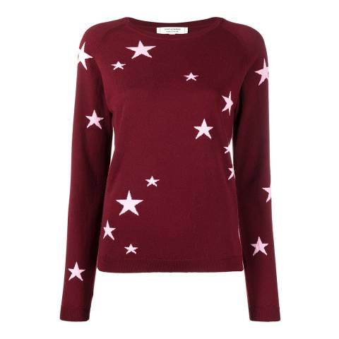 Chinti and Parker Red Classic Star Cashmere Jumper