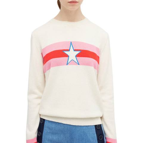 Chinti and Parker Cream Star Cashmere Jumper