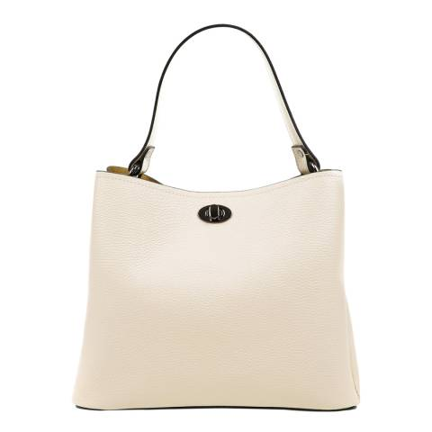 Luisa Vannini Beige Leather Top Handle Bag