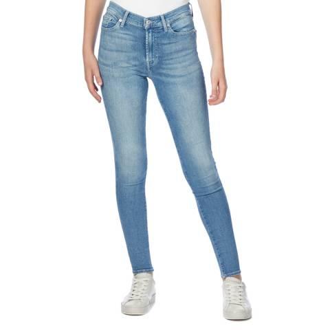7 For All Mankind Blue Skinny Slievosta Stretch Jeans