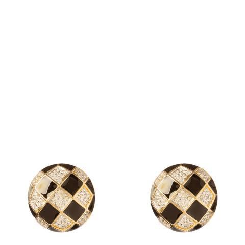 SWAROVSKI Gold 1990s Vintage Round Clip On Earrings