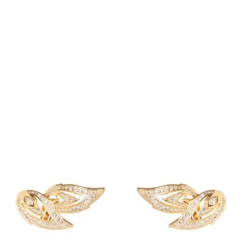 SWAROVSKI Gold 1990s Vintage Leaf Clip On Earrings