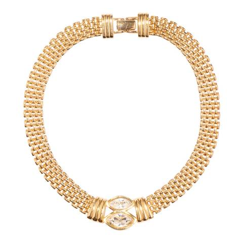 SWAROVSKI Gold 1980s Vintage Watchband Necklace