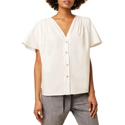 Great Plains White V Neck Cotton Blouse