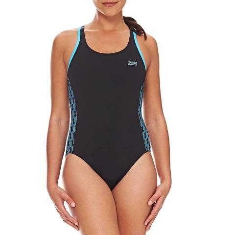 Zoggs Black Solo Splashback Swimsuit