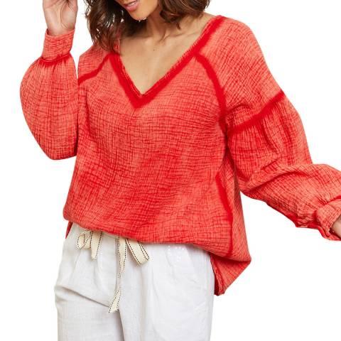 LE MONDE DU LIN Red Textured Cotton/Linen Top