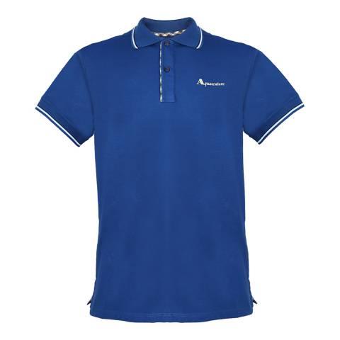 Aquascutum Blue Logo Stripe Collar Polo Shirt