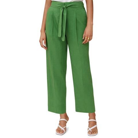 Mango Green Cropped Linen-Blend Trousers
