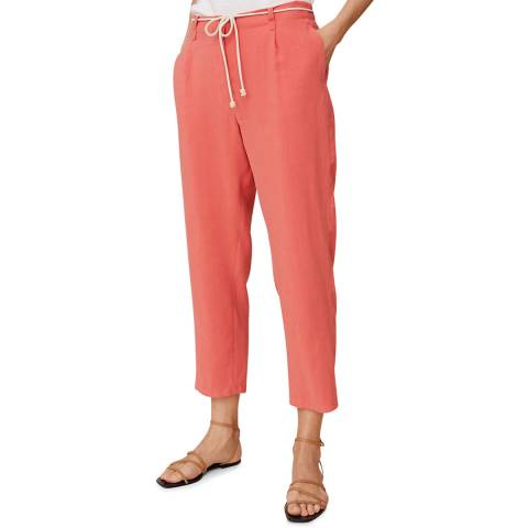 Mango Coral Red Drawstring Straight Trousers