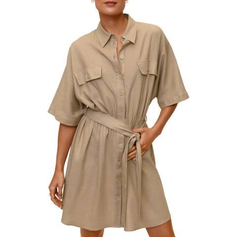 Mango Medium Brown Belt Linen Dress